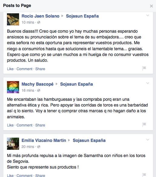 Ejemplo de las críticas en el muro de Sojasun de Facebook