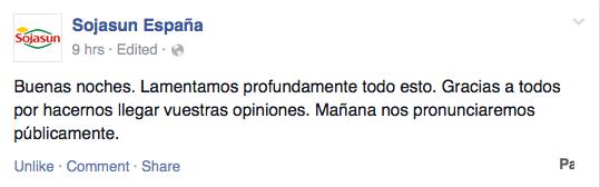 Respuesta gerenal en el facebook de Sojasun