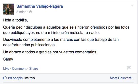 Del muro de facebook de Samantha Vallejo- Nágera